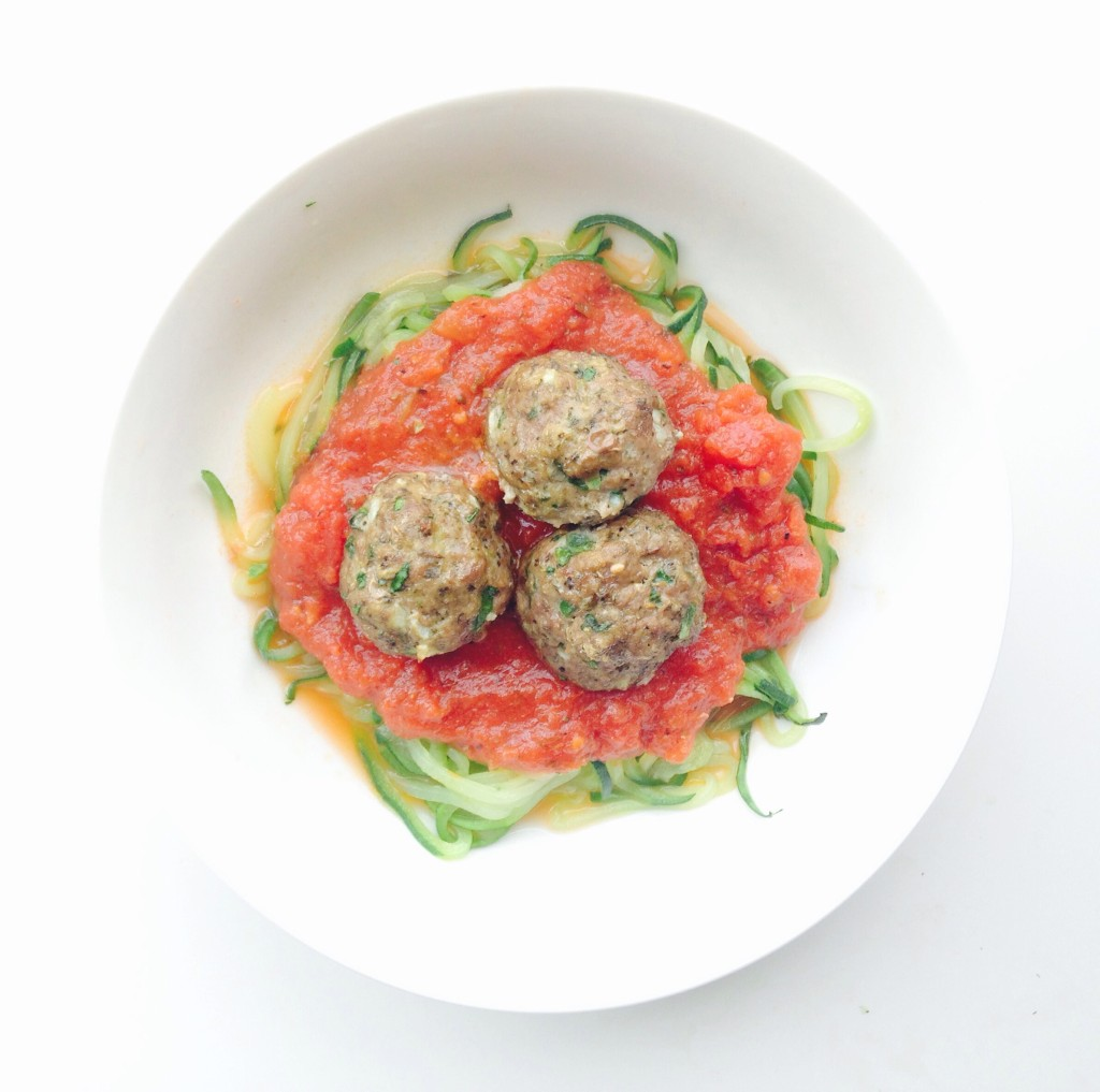 Zoodle Spaghetti and Meatballs